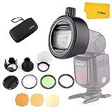 Godox AK-R1 - Kit de Accesorios con Godox S-R1 Cabezales Redondos Adaptador para Godox AD200 AD200Pro V860II V850II TT685 TT600 Flash y Otras Marcas por Ejemplo Yongnuo Canon Nikon Sony etc Flash