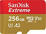 SanDisk Extreme - Tarjeta de Memoria microSDXC de 256GB con Adaptador SD, A2, hasta 160MB/s, Class 10, U3 y V30, Oro/Rojo