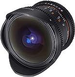 Samyang F1312101101 - Objetivo para vídeo VDSLR para Canon EF (Distancia Focal Fija 12mm, Apertura T3.1-22 ED AS NCS, Ojo de pez), Negro