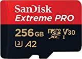 SanDisk Extreme PRO - Tarjeta de memoria microSDXC de 256GB con adaptador SD, A2, hasta 170MB/s, Class 10, U3 y V30