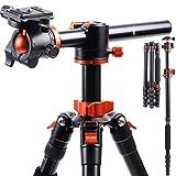 K&F Concept 170cm Trípode Cámara Reflex TM2515T1 con Monopie, 360° y 180° Columna Central Transversal, 360° Rótula de Bola Panorámica y 1/4' Placa Rápida Liberación para Cámara DSLR Canon Nikon Sony