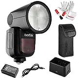 Godox V1-C Flash para Canon, 76Ws GN92 2.4 G TTL foco de flash de cabeza redonda, 1/8000 HSS, 480 disparos de potencia completa, 1.5 segundos. Recycle Time, batería de litio intercambiable de 2600 mAh
