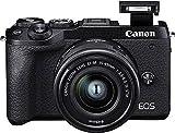 Canon EOS M6 Mark II - Cámara Mirrorless de 32.5 MP, Negro - Kit Cuerpo con Objetivo EF-M 15-45mm f/3.5-5.6 IS STM y Visor electrónico EVF-DC2