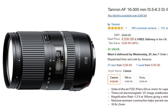 16-300mm para Canon en Amazon.co.uk