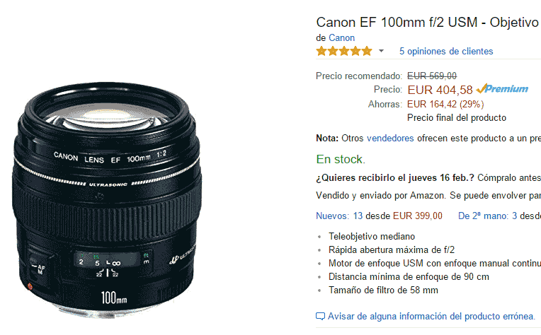 Canon EF 100mm F2 en Amazon
