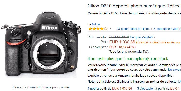 Nikon D610 en Amazon Francia