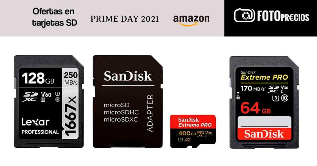 Ofertas en tarjetas SD Prime Day 2021 Amazon.