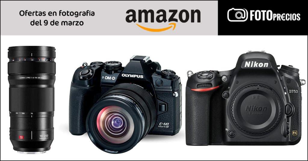 Precios mínimos de fotografía en Amazon: Nikon D750, Olympus E-M1 III 12-40, Lumix 70-200 f4 pro.