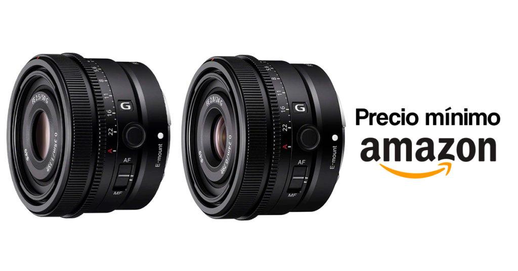 Precio mínimo en Amazon por los Sony FE 24mm F2.8 y Sony FE 50mm F2.5.